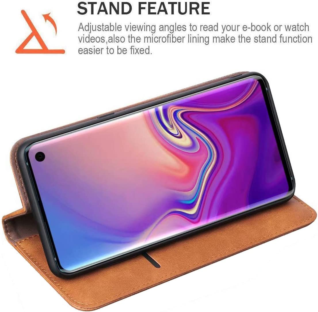 2019 Khaki ,RUIHUI Luxury Leather Wallet Folding Flip Protective Shock Resistant Book Type Case Cover with Card Slots,Kickstand and Magnetic Closure Galaxy S10 Case,Flip Case Cover for Samsung Galaxy S10