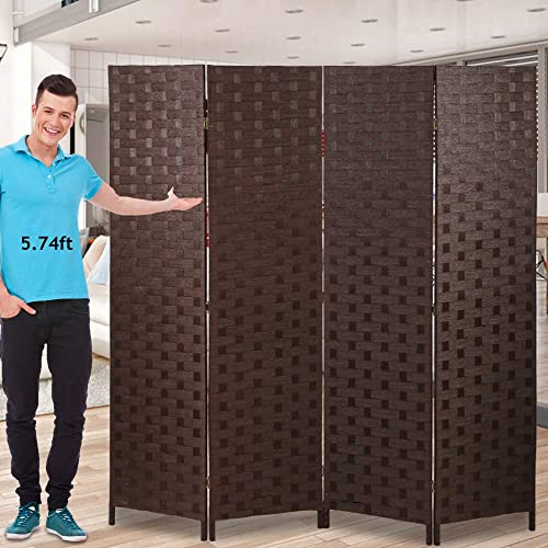 Room Dividers and Folding Privacy Screens 4 Panel 6 ft Foldable Portable Room Seperating Divider, Handwork Wood Mesh Woven Design Room Divider Wall, Room Partitions and Dividers Freestanding, Brown