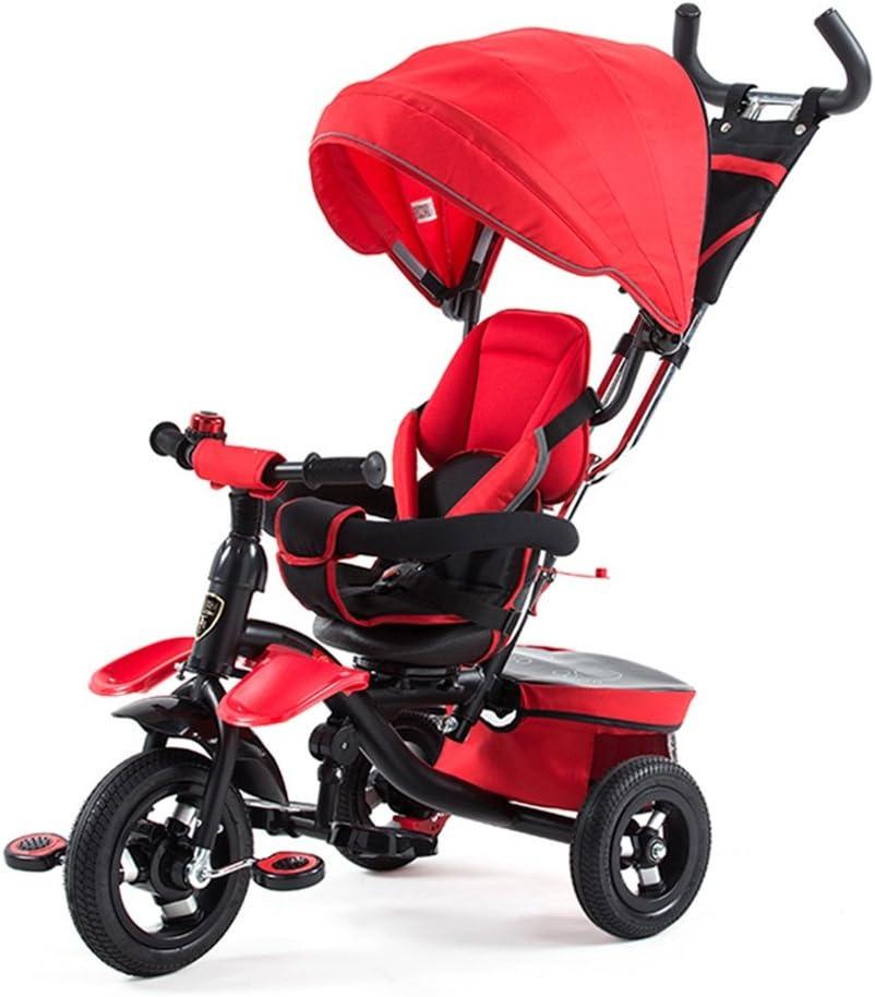 HAIZHEN  Cochecito Triciclo del triciclo de 4 en 1 niños asiento rotatorio de 360 grados Para recién nacido (Color : Rojo)