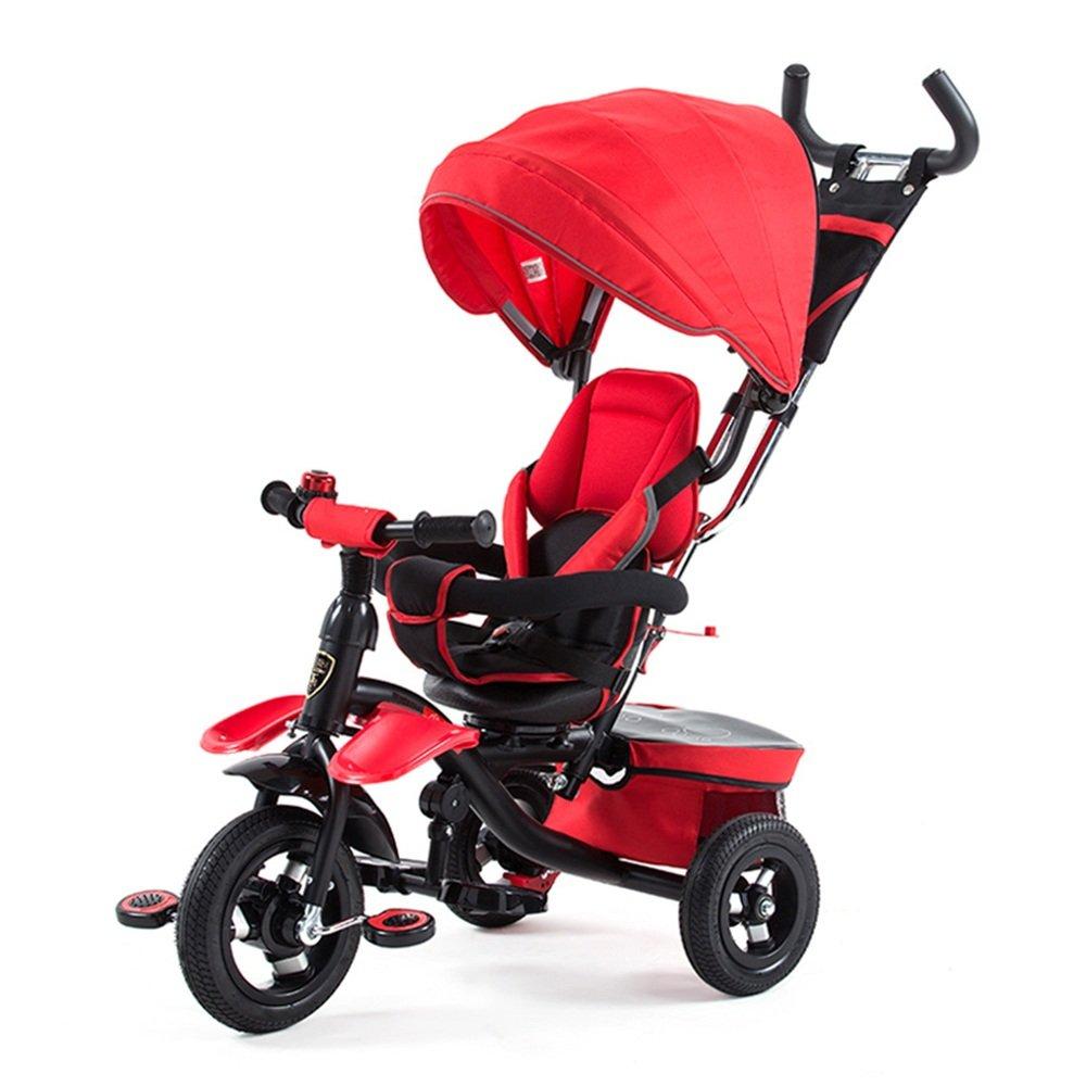 HAIZHEN マウンテンバイク 子供1人で4人のtrike tricycle 360度回転座席 新生児 B07C87TR36 赤 赤