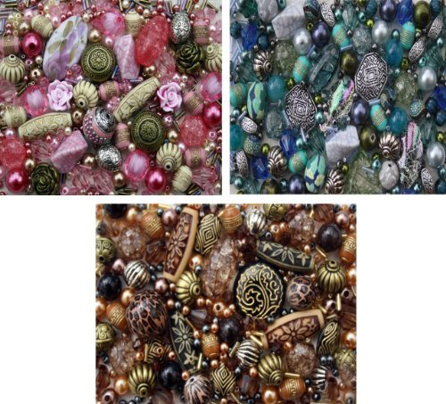 Approx X 1200 Jewelry Making Beads Mix Starter Kit for Beginners in Blue Brown & Pink (Glass Mix Bead)