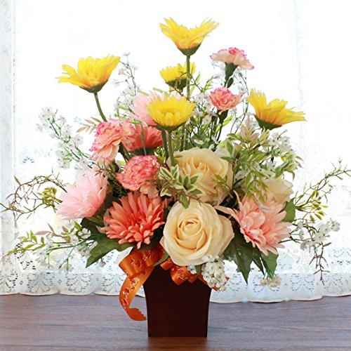 山久 【母ギフト】 ガーベラ と ローズ のやわらかな色のアレンジ 1803-8068 CT触媒加工 造花 シルクフラワー B07C36BLJX