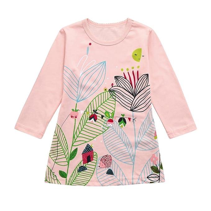 Anglewolf Cute Toddler Infant Newborn Baby Girl Girls Stripe Pockets Princess Dresses Clothes Outfits Long Sleeve Cartoon Print O-Neck Mini Dress