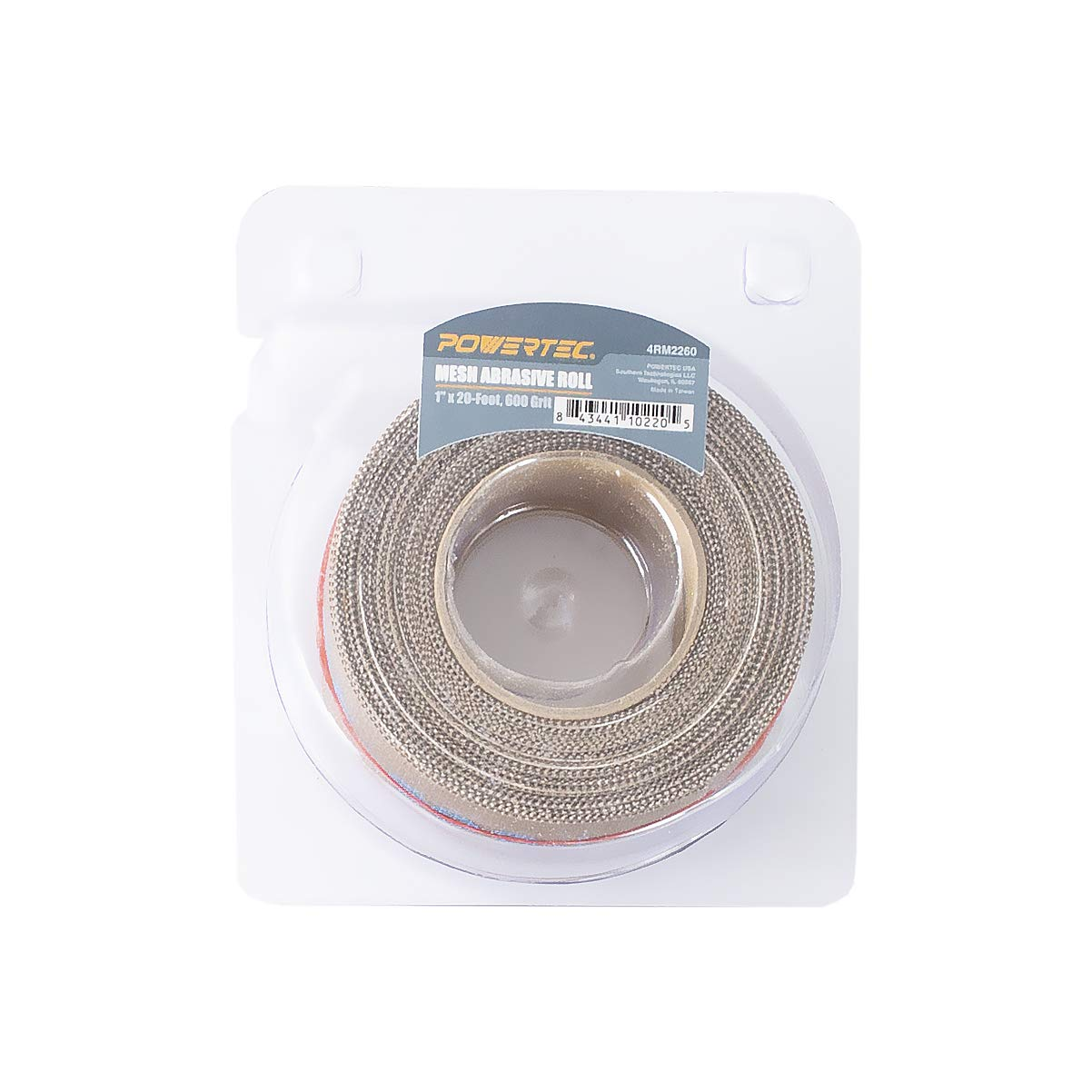 "POWERTEC 4RM2260 600 Grit Aluminum Oxide Abrasive Mesh Roll 1/"" x 20/' In Self-Dispensing Clear Blister Pack"
