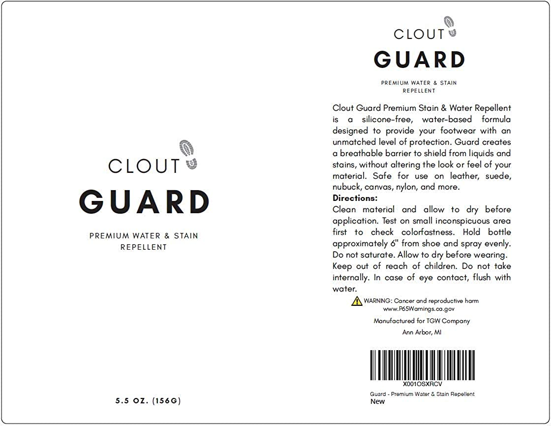 Clout Guard - Premium Water and Stain Repellent - Waterproof and Protect Suede, Leather, Nubuck, Fabric, Nylon, Polyester and More - Sneakerhead Protector for All Sneakers, Shoes, Boots, Accessories: Shoes