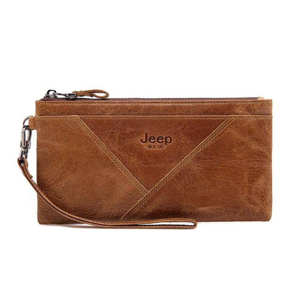 JEEP BULUO Women's Genuine leather Wallet Long (Brown)