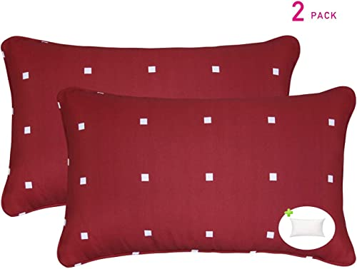 Fabritones Decorative Indoor Outdoor Rectangle Pillows and Insert 2 Packs 20×12 Inch Throw Pillow with Insert Red Rectangle Polka Dot Pattern Patio Cushion