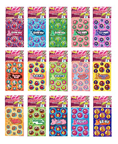 Dr. Stinky's Scratch N Sniff Stickers Favorite Candy 15-Pack- Blow Pop, Tootsie Roll Pop, Tootsie Roll, Dots, Fluffy Stuff, Charleston Chew, Sugar Babies, Junior Mints, Dubble Bubble, Razzles ()