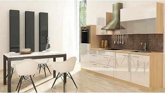 Respekta - Muebles de cocina, 280 cm, madera de acacia blanca brillante: Amazon.es: Hogar