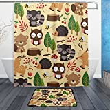 ALAZA Cute Woodland Animal Waterproof Polyester Fabric Shower Curtain 60 W x 72 H Inch with Hooks Doormat Bath Floor Mat 23.6 L x 15.7 W Inch Bathroom Home Decor