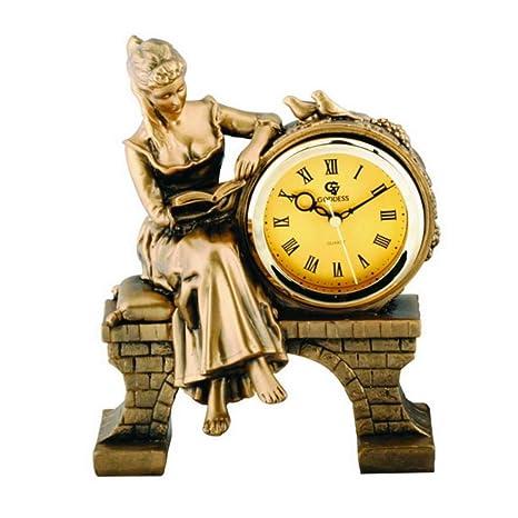 FOOFAY relojes de chimenea familiares Diosa clásica europea Reloj de mesa creativo Non-ticking silencioso
