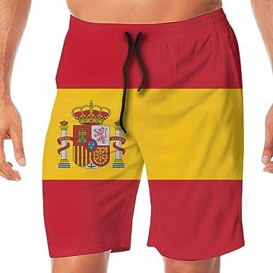 Pantalones de baño de Secado rápido para Hombre Pantalones para el hogar de impresión de la Bandera de España Pantalones para el hogar, Pantalones de Playa Shorts Talla M: Amazon.es: Ropa y
