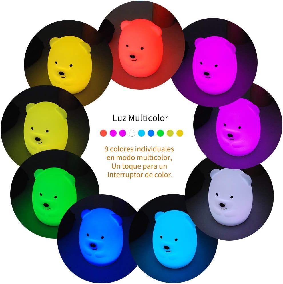 TOPERSUN Luz de Noche Beb/é L/ámpara Multicolor Remoto Recargable Luz Nocturna Luz de 9 Colores Multicolor Remoto Recargable