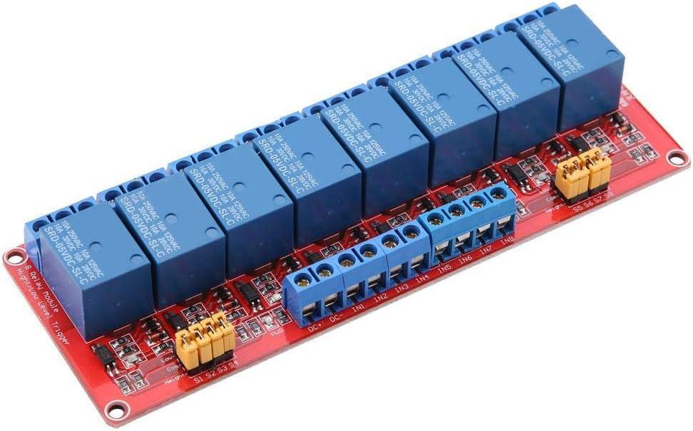Módulo de relé de disparo de nivel bajo y alto de 8 canales con optoacoplador para control inteligente(24V)