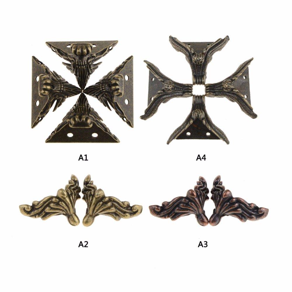 Laz-Tipa - 4pcs/lot Mini New Antique Bronze Small Book Scrapbooking Albums Menus Folders Collar Corner Protectors VBV39 P0.5