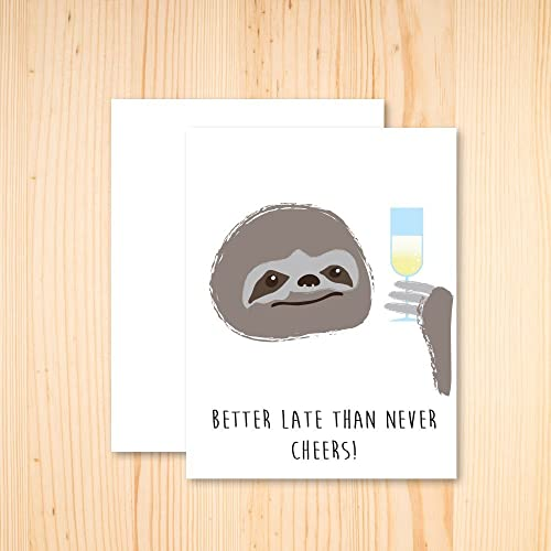 Amazon Sloth Birthday Card Sloth Cheers Card Sloth Belated