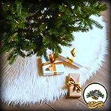 Classic Mongolian Shaggy Sheepskin Faux Fur Tree Skirt / Log Cabin Lodge Christmas Tree Skirt White Premium Quality Faux Fur Round (5' Diameter)