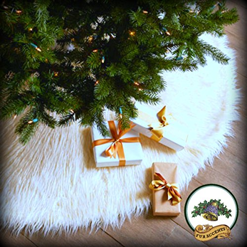 Classic Mongolian Shaggy Sheepskin Faux Fur Tree Skirt / Log Cabin Lodge Christmas Tree Skirt White Premium Quality Faux Fur Round (5' Diameter) (Sheepskin Skirt Tree)