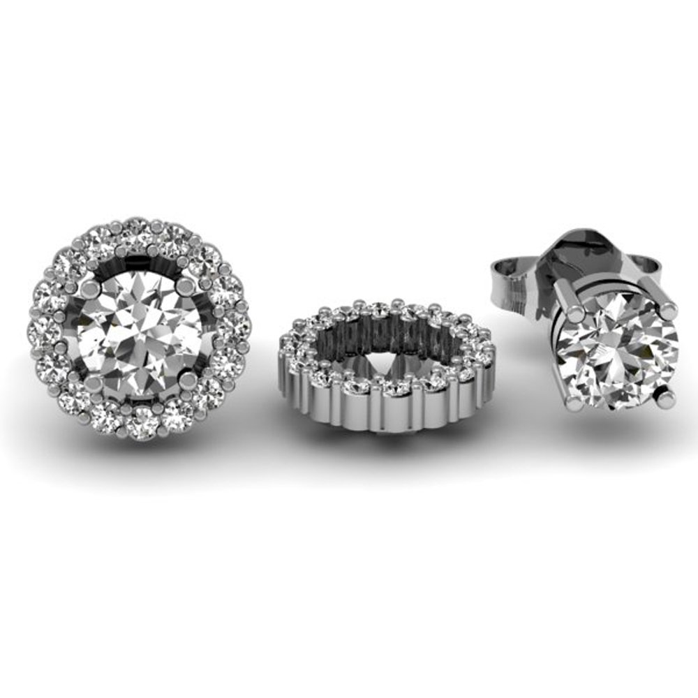 0.25 Carat (ctw) 14K White Gold Round White Diamond Removable Jackets for Stud Earrings 1/4 CT