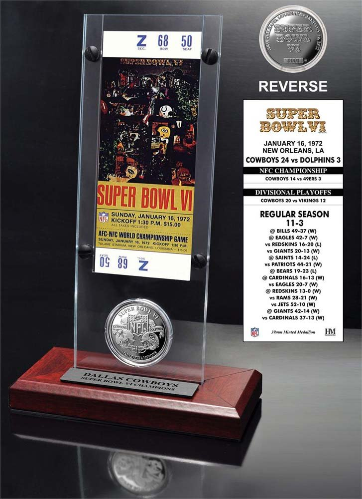 NFL Dallas Cowboys Super Bowl 6 Ticket & Game Coin Collection, 12' x 2' x 5', Black 12 x 2 x 5 The Highland Mint SB6TACRYLK