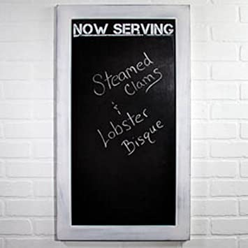 now serving white wash wood framed chalkboard 32in