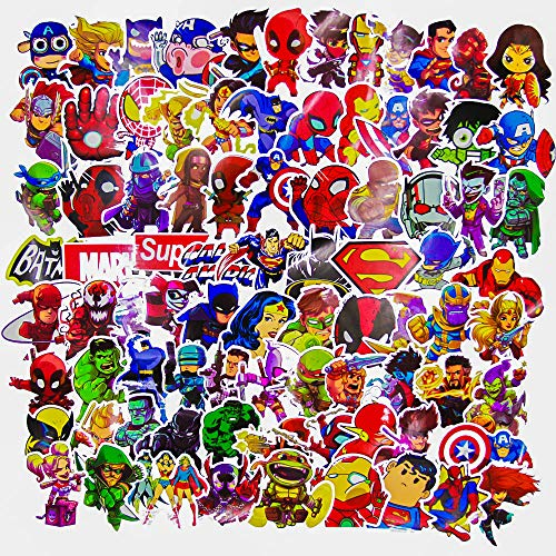 Laptop Stickers for kids(100pcs),Superheros Stickers for Water Bottles,Vinyl Stickers for Laptop Skateboard Luggage Decal Graffiti Patches Stickers in ()