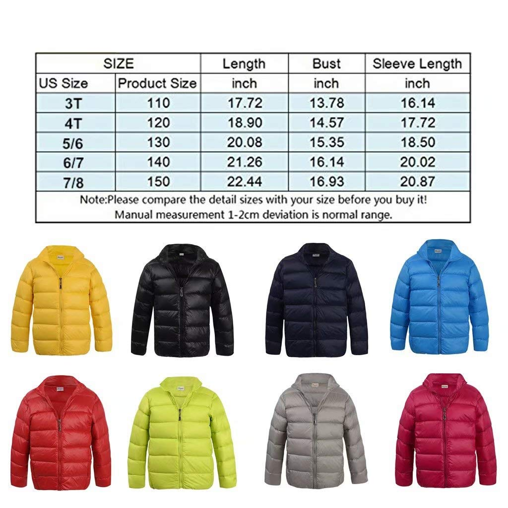 Hiheart Boys Girls Ultralight Puffer Down Jacket Stand Collar Winter Coat