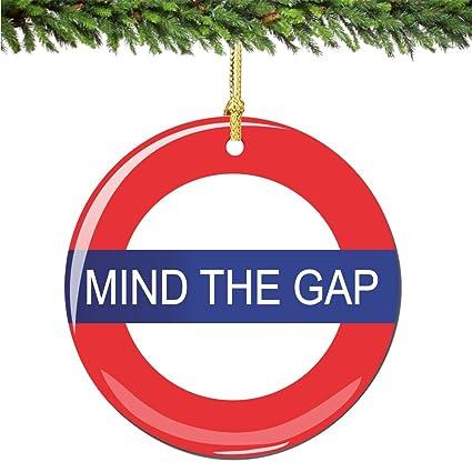 City Souvenirs Mind The Gap Christmas Ornament Porcelain 2 75 Inch London Christmas Ornaments