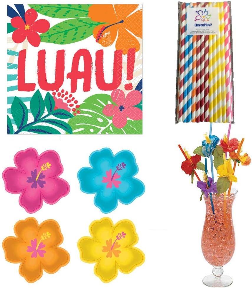 ~ Birthday Party Supplies Drinking 12 HAWAIIAN LUAU Hibiscus PLASTIC STRAWS