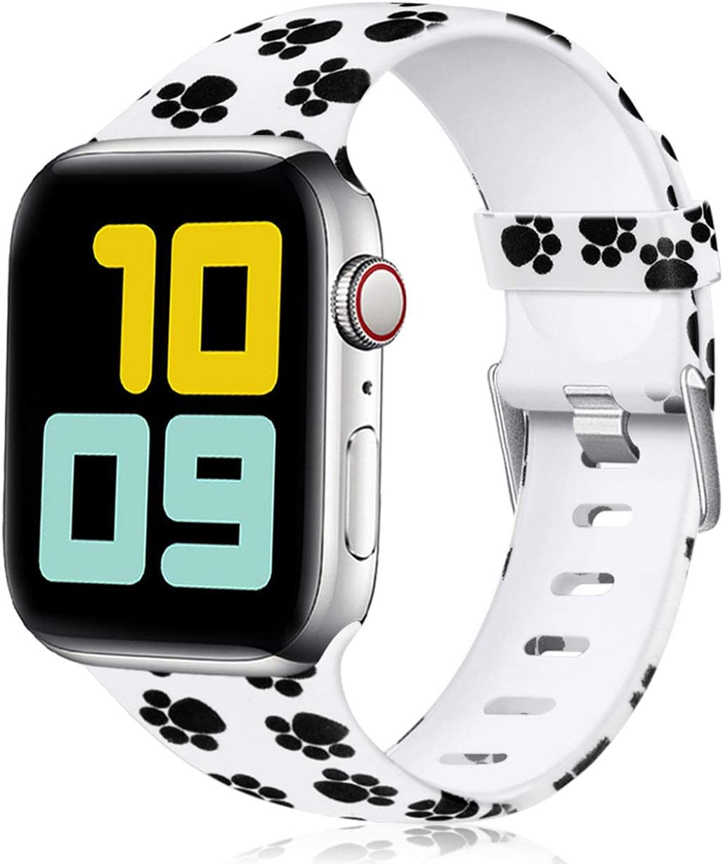Nofeda Floral Bands Compatible with Apple Watch 40mm 38mm for Women Men, Soft Fadeless Pattern Printed Sport Band Replacement for iWatch Series 5,4,3,2,1, S/M, Paw