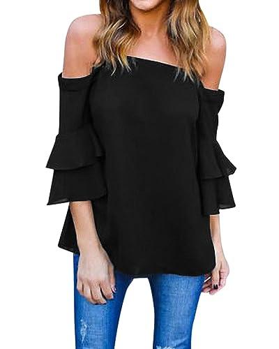 StyleDome Mujer Camiseta Mangas 3/4 Volantes Blusa Playa Hombros Descubiertos Elegante