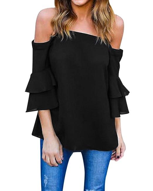 StyleDome Mujer Camiseta Mangas 3/4 Volantes Blusa Playa Hombros Descubiertos Elegante Negro EU 36