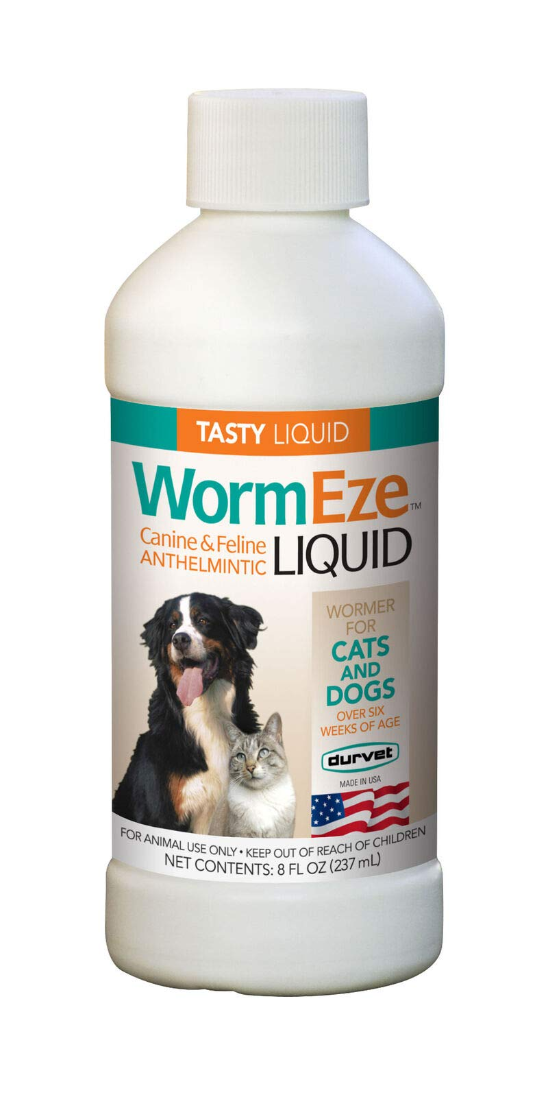 WormEze Liquid Wormer Remover for Dog Puppies Cat & Kitten 8oz by WormEze