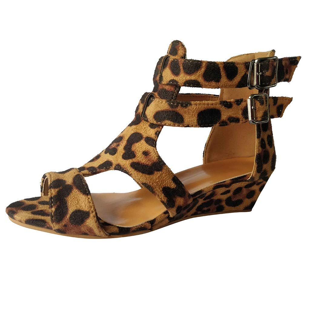 Newlyblouw New Women Casual Plus Size Wedges Sandals Ladies Summer Fashion Leopard Buckle Gladiator Peep Toe Roman Shoes Brown