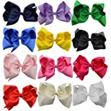 """QtGirl Large Hair Bows 12 Pieces 8"""" Solid Color Big Hair Clips for Women Girls"""