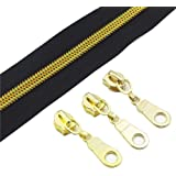(gold black) - YaHoGa 5 Gold Metallic Nylon Coil Zippers By The Yard Bulk 10 Yards With 25pcs Gold Sliders for DIY…