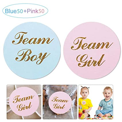 TEAM PRINCESS Stickers Labels 48 x GENDER REVEAL BABY SHOWER PARTY TEAM PRINCE