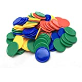 SmartDealsPro Set of 100 1 Inch Plastic Learning Counting Counters Game Tokens Mini Poker Chips-Random Color