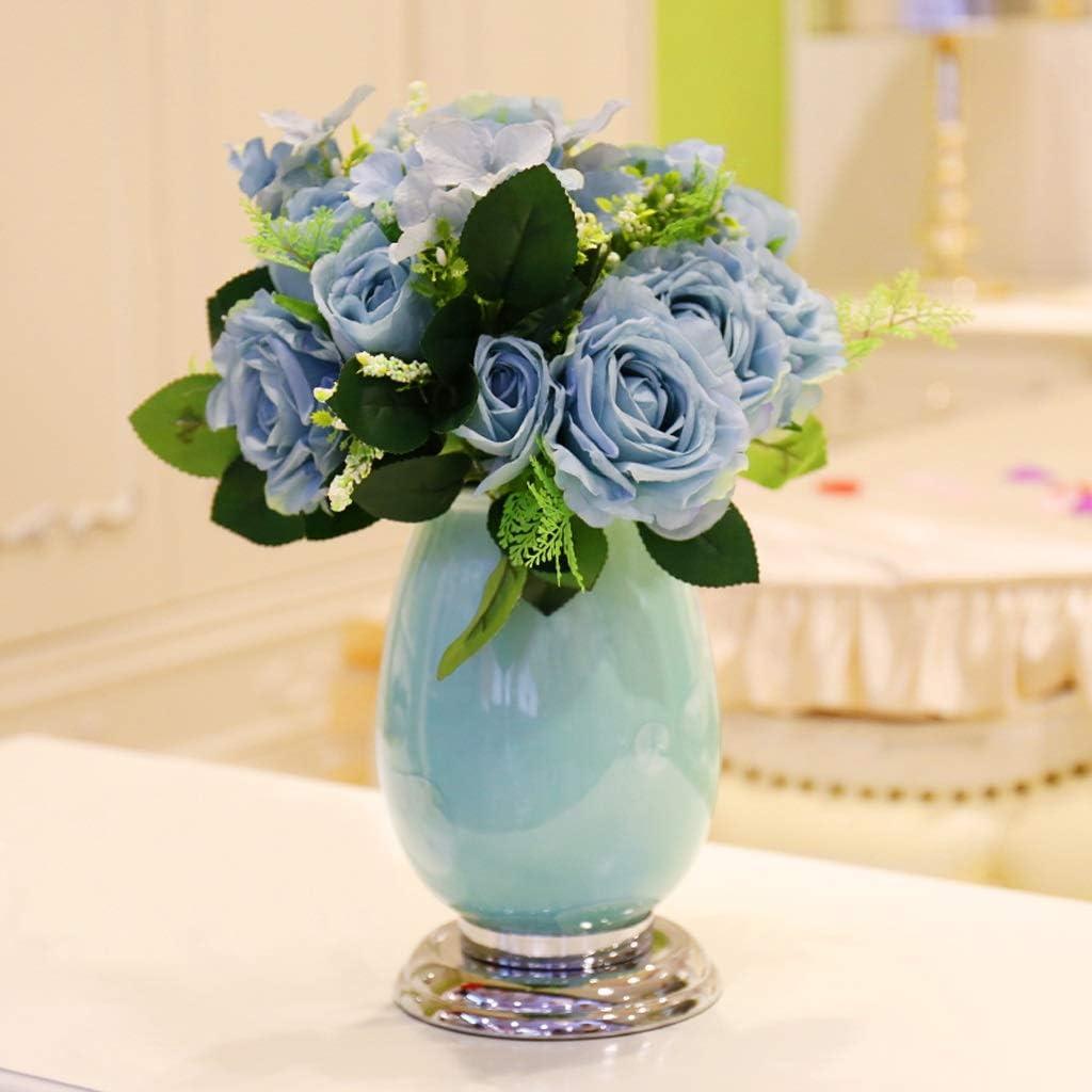 European Ceramics Flower Vase Dry Flowers Jar,Elegant Home Decorative 1525cm Vases,for Table Centerpieces Living Dining Room Wine Cooler or Wedding Arrangement (Color : Vase with Flowers-2)
