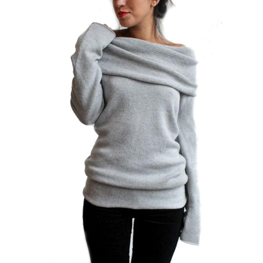 Women's Sweater,Neartime Long Sleeve Sweatshirt Sweater Coat Pullover for Women (M, Gray)