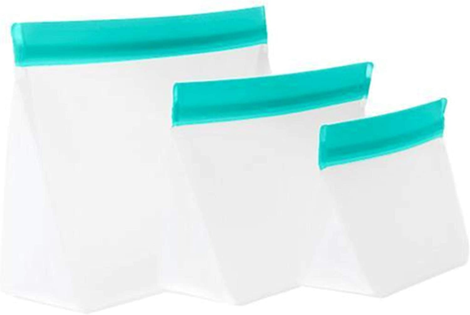 mumi Reusable Zip Up Bags | Food Storage Bags, Travel Organizer | Airtight and Leak-proof Seal | Expandable Base | Set of 3 Reusable Bags (10 x 7, 8 x 5, 6 x 4 inches) (Aqua)