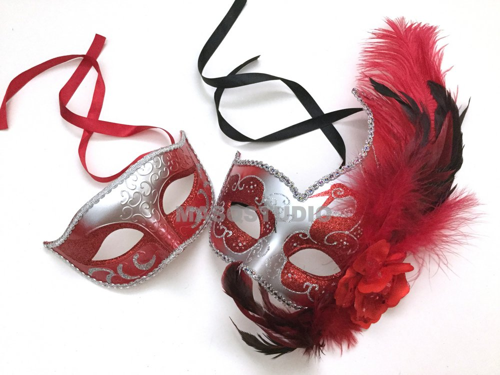 Black Red Couple Masquerade Ball Mask Pair Carnival Dance Prom Birthday Party