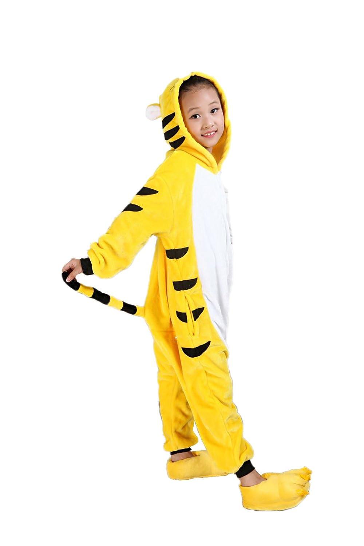30d7c5992402 Amazon.com  Vimans Girls Onesie Flannel Kigurumi Pajamas One Piece Yellow  Tiger Pajamas  Clothing
