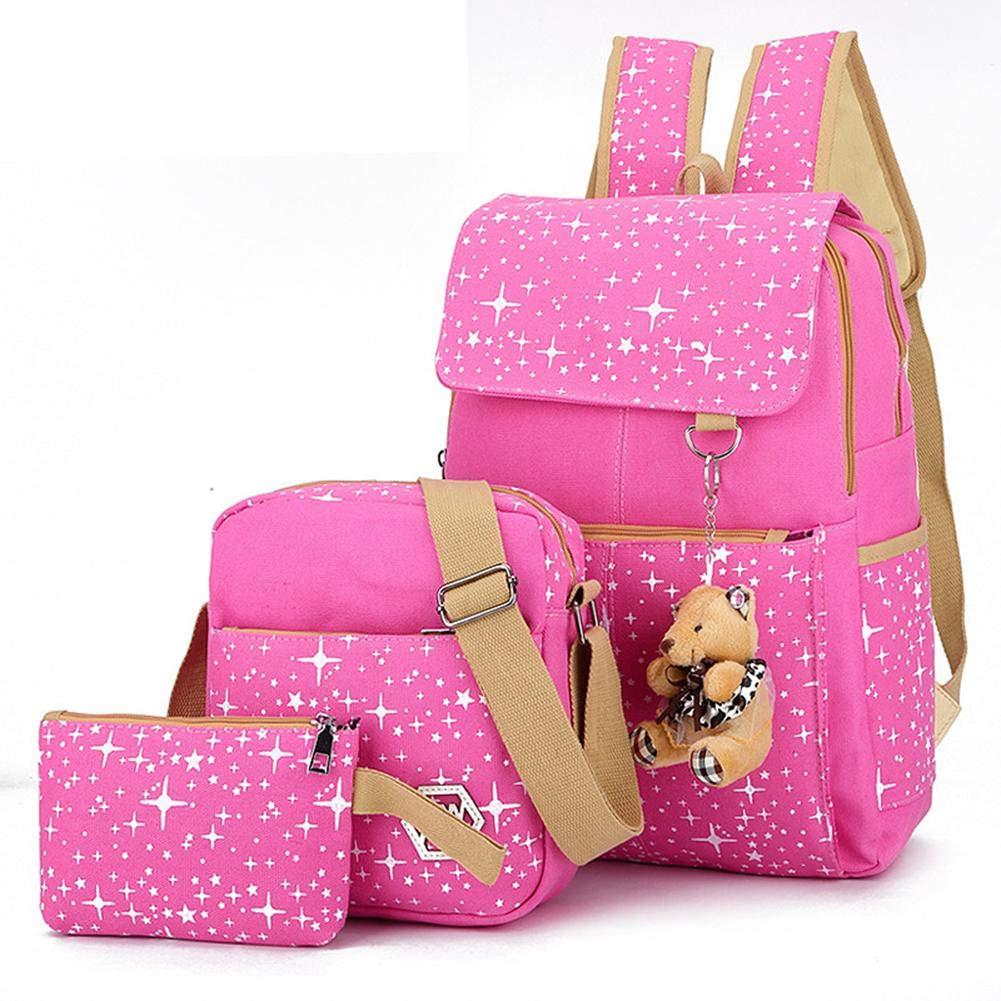 Borse Matita Lady Girl Bookbag Bambini Set tre pezzi Zaini Zaino Femmina Preppy Cotone Zaino Donne Zaini Scuola Solid per Ragazze Adolescenti,Borse da viaggio Borse a spalla Moda Carino
