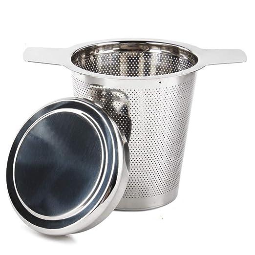 Sivaphe filtros para té de acero inoxidable talla grande, infusor de té con agujeros pequeños, colador de malla con asa largo y tapa para tazas, ...