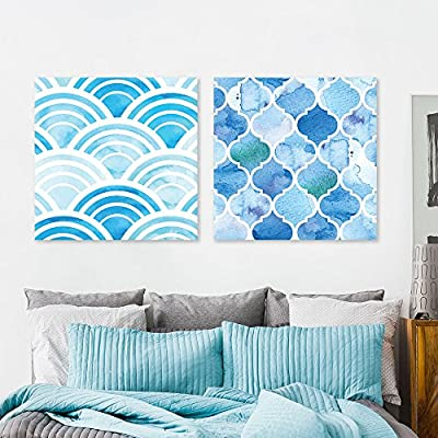 2 Panel Square Abstract Blue Patterns Patterns x 2 Panels 24
