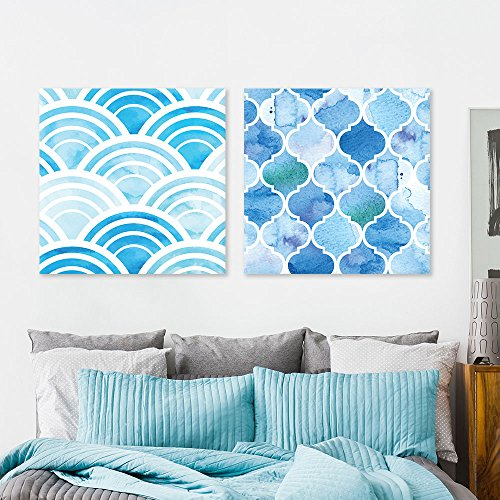 2 Panel Square Abstract Blue Patterns Patterns x 2 Panels