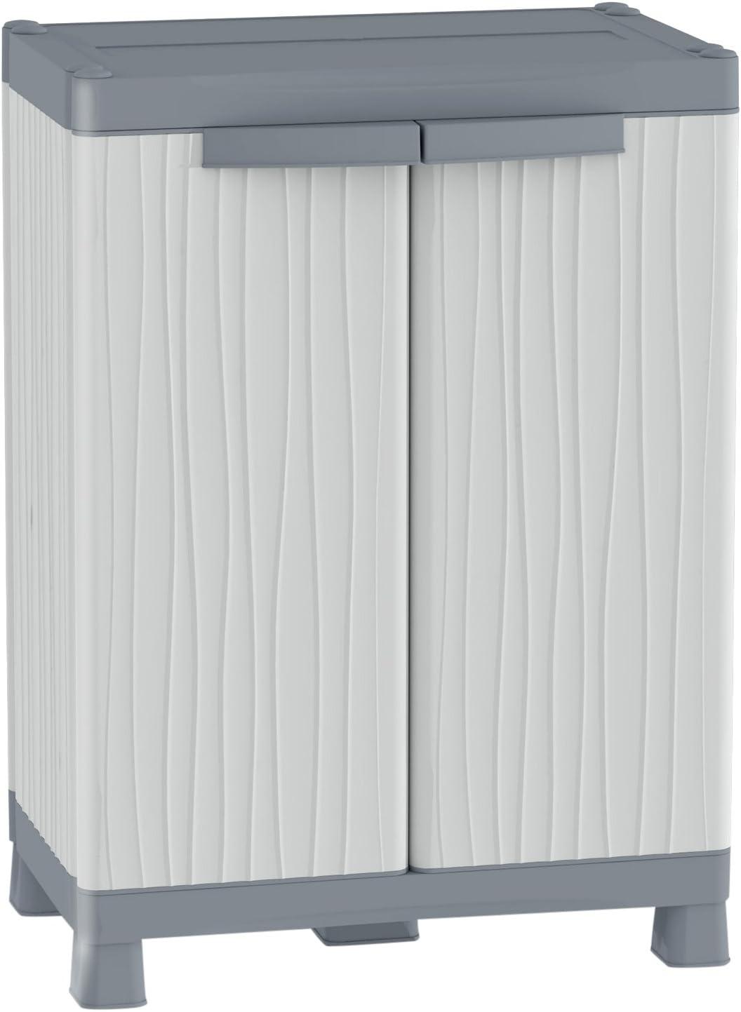 Terry - Armario de dos Puertas con 2 Baldas Regulables y 2 Compartimientos, Plastico