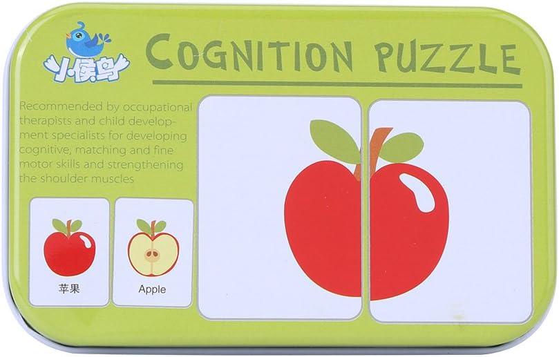 Vehículo/Animal/Frutas/Productos vivos Formación de aprendizaje Tarjetas de memoria Bebé Early Educational Anti-Tear Matching Puzzle Tarjetas cognitivas con caja de almacenamiento de hierro(Frutas)