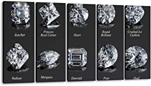 KiiAmy 5 Panels Art Wall Decor Ten The Most Popular Diamond Cut Styles with Titles on Dark Gray Artwork Modern Canvas Prints Office Bedroom Home Decor Framed Painting Ready to Hang (60''Wx32''H)